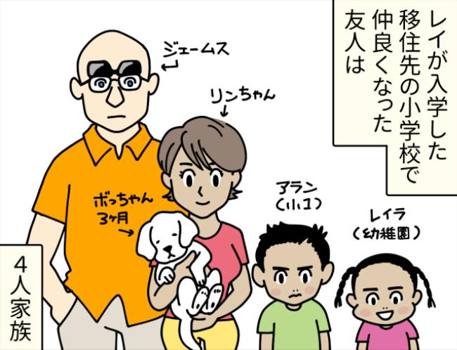 外国人一家と犬