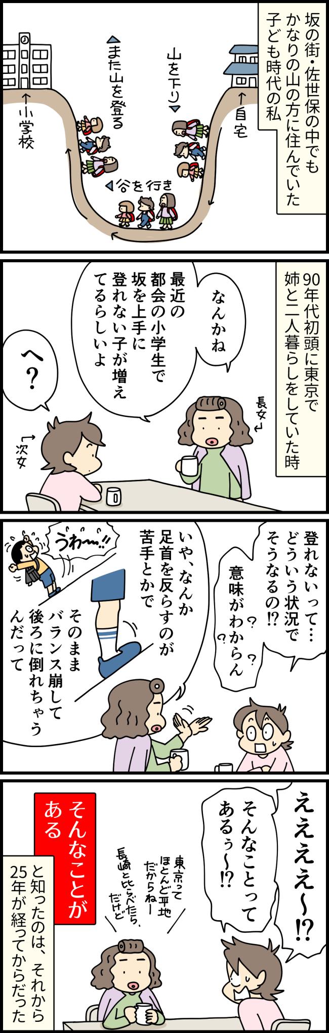 東京で一緒に住んでいた姉から坂を登れない小学生がいるという話を聞いて驚く大原由軌子