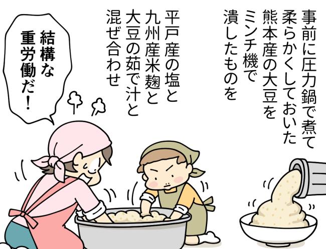 味噌を作るためミンチ状にした大豆と塩と麹を金ダライで混ぜ合わせる大原由軌子と次男のレイ