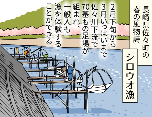 長崎県佐々町の佐々川下流で春先に行われているシロウオ漁の様子