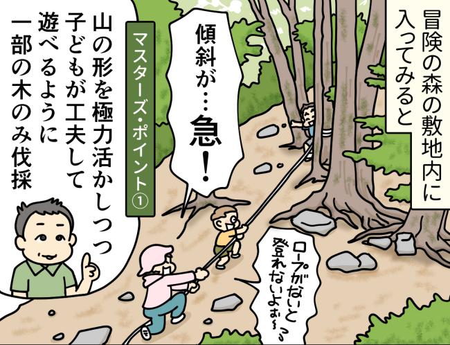 「冒険の森」の急斜面をロープを使い上る大原由軌子とタケとレイ