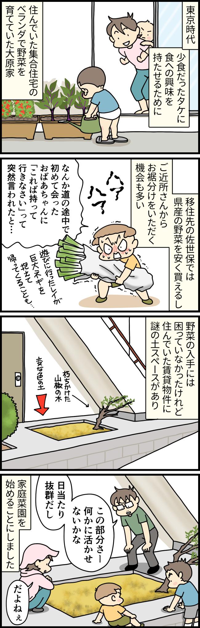 東京から移住してきた長崎県佐世保市の賃貸物件で、大原家が家庭菜園を始めることになった経緯